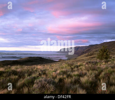 Sunset on Hart Mountain. Hart Mountain National Antelope Refuge. Lake County. Oregon, USA - Stock Photo