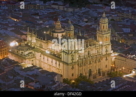 Spain, Andalucia, Jaen Renaissance Cathedral viewed from the parador - Stock Photo
