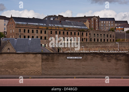 Landscape view from East Dock Street of the 1836 William Halley & Sons Ltd Jute Mill which is a Listed Building - Stock Photo