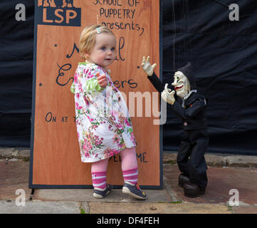 Skipton UK. 27th September, 2013. International Puppet Festival. Daisy Le Drew, 1 year old baby from Derby at Skipton's - Stock Photo