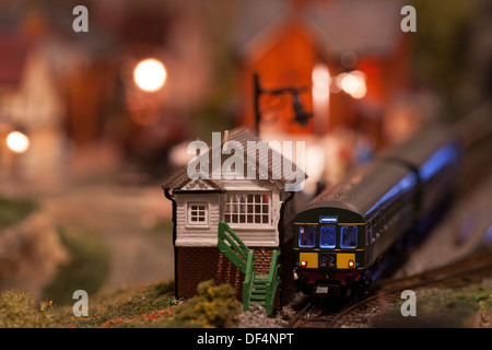 N Gauge model railway scene - Stock Photo