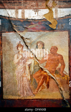 Fresco in the College of the Augustans« depicting the myth of Hercules, ruins of the old Roman city of Herculaneum - Stock Photo