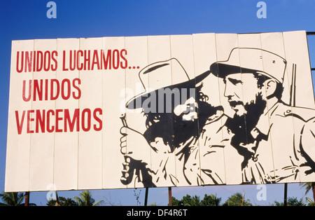 Road. Communist propaganda with Fidel Castro. Pinar del Río Province. Cuba - Stock Photo