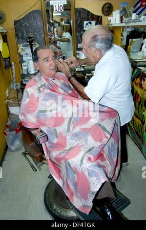 Barber shop at Little Havana district, Calle Ocho. Miami. Florida, USA - Stock Photo