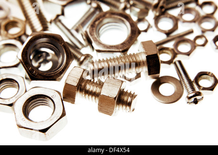 Chrome nuts and bolts closeup - Stock Photo