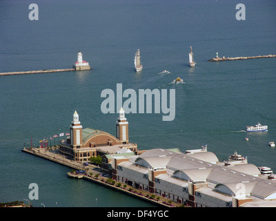 Downtown Navy Pier activity on Lake Michigan. Downtown city of Chicago Illinois. USA. - Stock Photo