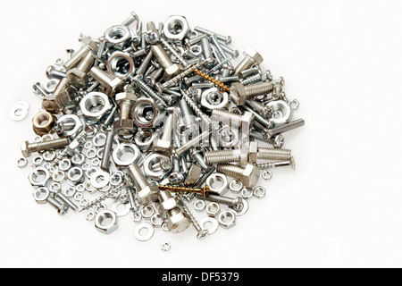 Pile of nuts and bolts - Stock Photo