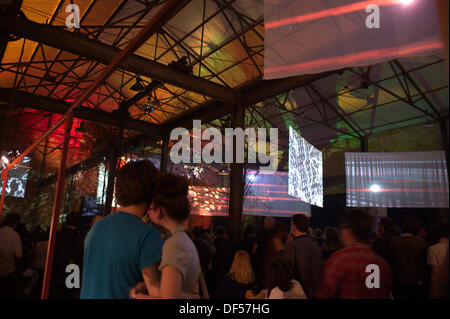 Couple in main Furnace room of festival. Liverpool International Festival Of Psychedelia at Camp and Furness Friday - Stock Photo