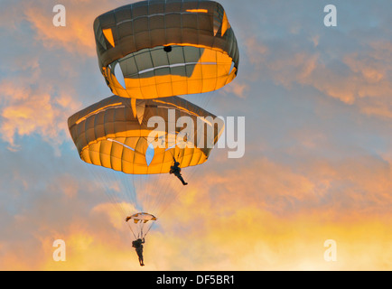 US Army Airborne Paratroopers from the 4th Infantry Brigade Combat Team parachute at sunrise in the new T-11 parachute - Stock Photo