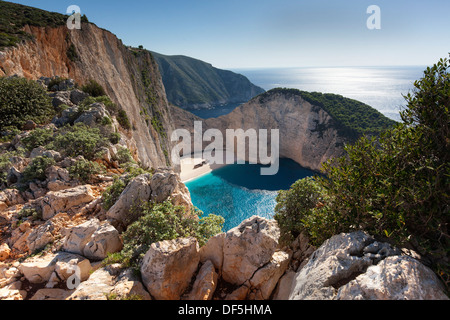 Navagio Beach or Smuggler's Cove in Zakynthos (Zante). - Stock Photo