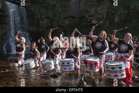 Water music took on a different meaning for members of the samba drumming band 'Batala Lancaster' on Saturday. They - Stock Photo