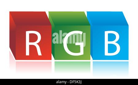RGB cubes illustration design over white - Stock Photo