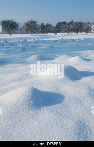 On a cold, winter day after snowfall, view of sunlight on snow-covered mounds or hummocks (mole hills) in a field - Stock Photo