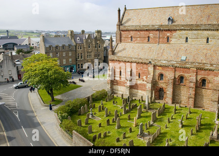 Saint Magnus Cathedral in Kirkwall Orkney Islands Scotland - Stock Photo