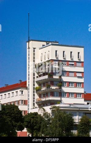 Schönblick-Block apartments by Karl Beer, 1927-8, Weissenhofsiedlung, Weissenhof, Stuttgart, Baden-Wuerttemberg, - Stock Photo