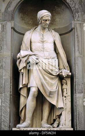 Niccola Pisano statue in the Piazzale degli Uffizi. Florence. Tuscany, Italy - Stock Photo