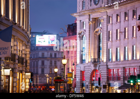 Regent Street to Piccadilly Circus London England at twilight - Stock Photo