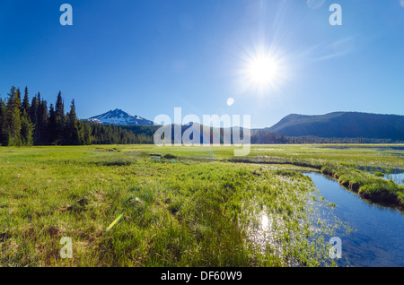 View of a meadow and South Sister mountain shot looking directly into the sun near Bend, Oregon