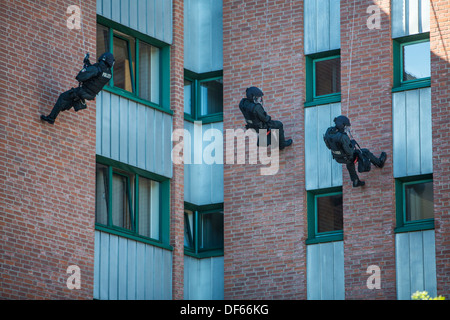 Police SWAT team exercise, rescuing of hostages. Special police forces. Hostage rescue team. - Stock Photo
