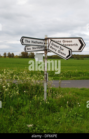 Road signs in the countryside in Hertfordshire, England. - Stock Photo
