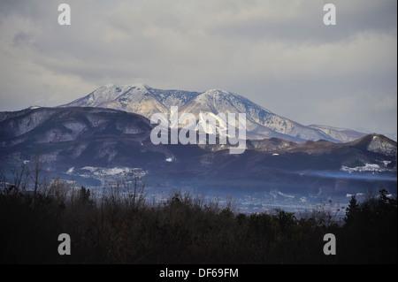 Snow capped mountains near Nagano, Japan - Stock Photo