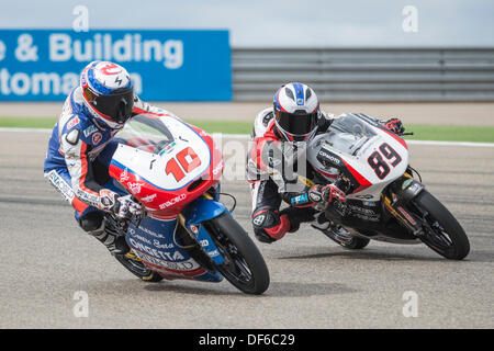 French rider, Alexis Masbou, tries to overtake to the french rider Alan Techer during the qulifying practice in - Stock Photo