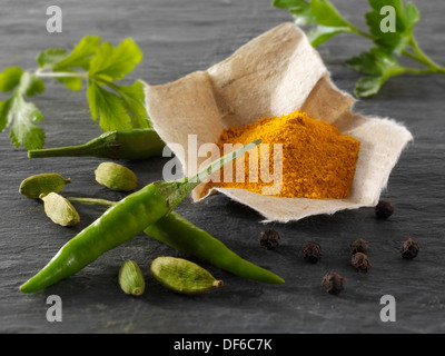 Fresh green birdseye chillies with ground turmeric & coriander leaves Indian spices composed arrangement - Stock Photo