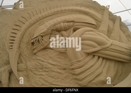 sci fi sand sculpture - Stock Photo