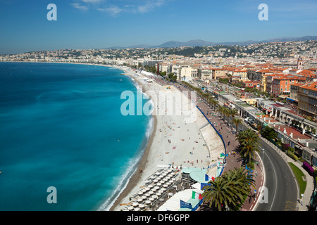 Europe - France - Provence-Alpes-Cote d'Azur - Nice - View over bay and Promenade des Anglais from the parc du chateau - Stock Photo
