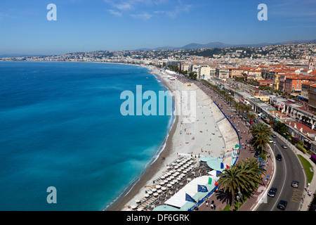 View over bay and Promenade des Anglais from the parc du chateau, Nice, Provence-Alpes-Cote d'Azur, France, Europe - Stock Photo