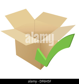 Cardboard with check - Stock Photo