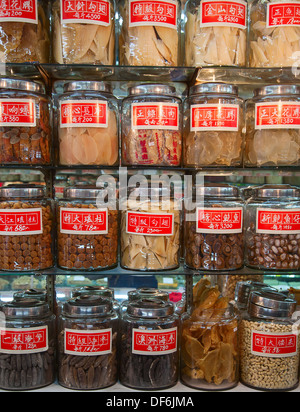 Traditional chinese shop with food and medicine ingredients - Stock Photo