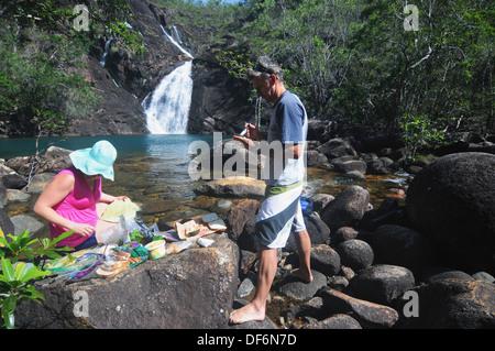 Picnic at Zoe Falls, Hinchinbrook Island National Park, Queensland, Australia  No MR - Stock Photo