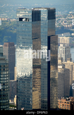 The Time Warner Center mixed use twin towers. Columbus Circle, Northwest  Manhattan, New York, New York. USA. - Stock Photo