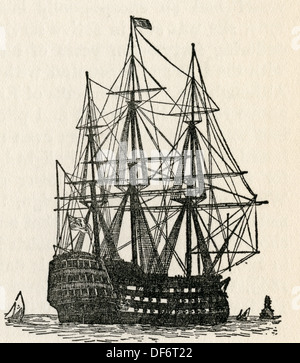 HMS Victory, Lord Nelson's flagship at the Battle of Trafalgar in 1805. From The Romance of the Merchant Ship, published - Stock Photo