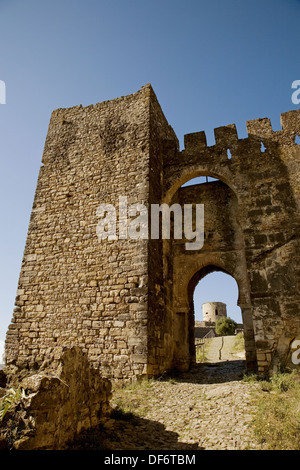 Isolated tower of castle, Jimena de la Frontera. Cadiz province, Andalucia, Spain - Stock Photo