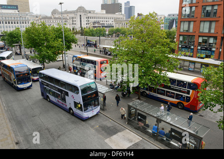 A high view of the Piccadilly Gardens bus station in central Manchester. - Stock Photo