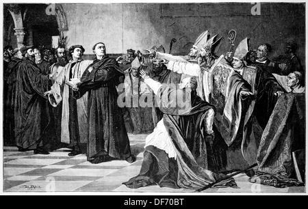 Martin Luther, (Eisleben, 1483, Eisleben, 1546). German reformer. Luther at the Diet of Worms. Engraving. - Stock Photo