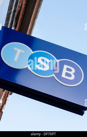 Rebranding of TSB Bank in 2013, new bank logo on high street signs. - Stock Photo