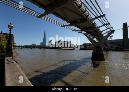 The Shard, Tate Modern and the Millennium Bridge London - Stock Photo