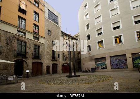 Europe, Spain, Barcelona, street near Cathedral Santa Maria del Mar - Stock Photo