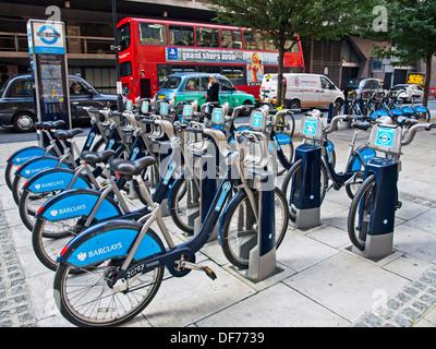 'Boris bike' hire cycle stand near Tottenham Court Road, West End, London, England, United Kingdom - Stock Photo