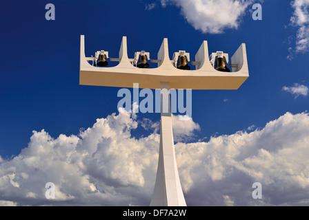 Brazil, Brasilia: Bell tower of the Cathedral Metropolitana Nossa Senhora da Aparecida - Stock Photo