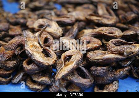 Dried fish at market, Bobo Dioulasso. Burkina Faso - Stock Photo