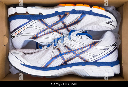 Asics Shoes in Box High Angle - Stock Photo