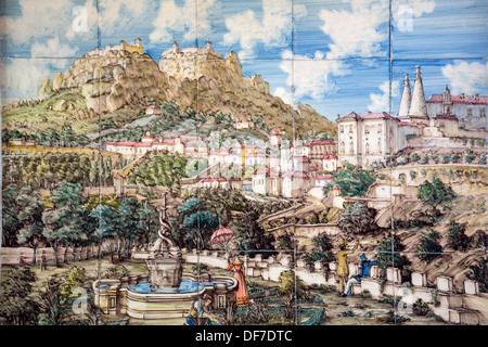 Azulejos tile image of the Castelo dos Mouros, Castle of the Moors, Moorish fortress, Sintra, Lisbon District, Portugal - Stock Photo