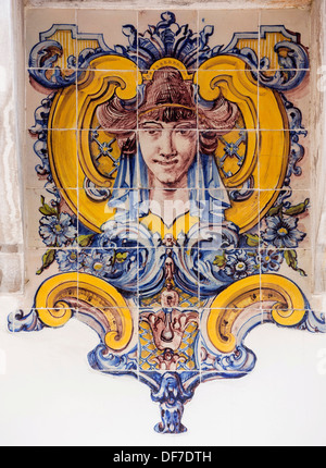 Painted Azulejos tiles, Art Nouveau style, woman's head, Sintra, Lisbon District, Portugal - Stock Photo