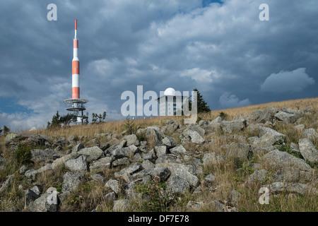 Transmission tower and Brockenhotel on the summit plateau of Mt Brocken, Brocken, Wernigerode, Saxony-Anhalt, Germany - Stock Photo
