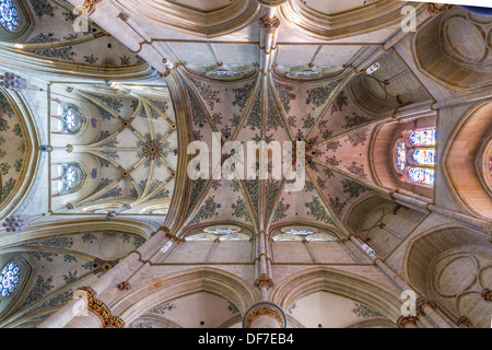 Gothic cross vault with floral frescoes in the Church of Our Lady, Liebfrauenkirche, UNESCO World Heritage, Roman - Stock Photo