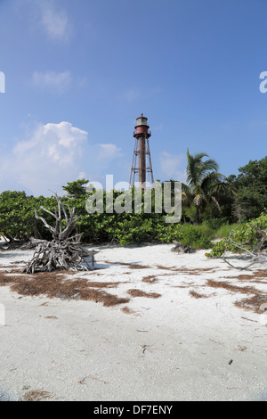 the old lighthouse at Sanibel on the Florida coast - Stock Photo